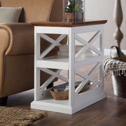 Belham Living Hampton Chair Side Table - White/Oak - The Hampton Chair Side Table - White/Oak has a fresh take on classic design. This chair side must-have is well-crafted of solid and engineered wood with an oak veneer top. Its space-saving design includes two large shelves just right for storage or display. The frame of this side table is detailed with two decorative X-stretchers. Its two-tone white and oak finish lend casual country charm to your home. About Belham LivingBelham Living builds catalog-quality furniture in traditional styles at a price that actually makes sense. By listening to our customers and working closely with great manufacturers, we build beautiful pieces worthy of your home. Rich wood finishes, attention to detail, and stylish lines that tie everything together are some of the hallmarks of a Belham Living piece. From the living room or bedroom, through the kitchen, and out onto the deck, there's something from an incredible Belham collection perfect for your style.