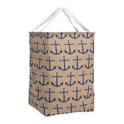 Blue Anchor Burlap Storeall Storage Container - 100% burlap