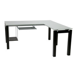 Euro Style - Euro Style Ballard L Desk // Wenge/Silver Printed Glass - The tempered glass surfaces of the Ballard Collection make light of any work situation. Silver printed tops and shelves are sturdy and smudge-proof. The perfect platform for your next BIG idea.