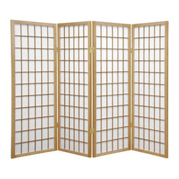 Oriental Furniture - 4 ft. Tall Window Pane Shoji Screen - Natural - 4 Panels - A traditional Japanese design adapted for the modern home, this four foot tall Window Pane Shoji Screen is a great way to partition a room, direct foot traffic, or add a cosmopolitan accent to a room. The translucent Shoji rice paper panels provide privacy without blocking light, and are fiber-reinforced for extra durability. This elegant, time-tested design complements any style of interior decor.