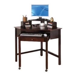 "Coaster - Corner Desk (Cappuccino) By Coaster - The simple and stylish corner computer unit will be a welcome addition to your home, helping you make the most of your space. Dimension: Cappuccino Wood Corner Computer Desk - coaster 800983 31.5"" x  31.50"" x 37.25""."