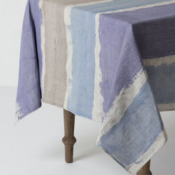 Brooks of Bohemia Tablecloth, Blue - Anthropologie has the best table linens. I really adore this striped watercolor look for spring.
