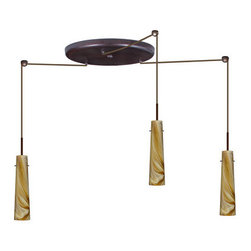 Besa Lighting - Besa Lighting 3BW-5674HN Camino 3 Light Cord-Hung Pendant - Camino is a softly tapered narrow cylinder, creating a refined contemporary look. This unique decor is handcrafted, with layered swirls of yellow-amber and golden-brown against white, finished to a high gloss. It's classic swirl pattern and high gloss surface has a truly florid gleam. Honey is a hand-blown glass designed to have a shiny and polished finish. The glass is gathered and rolled into shape a unique pattern is formed that cannot be replicated. This blown glass is handcrafted by a skilled artisan, utilizing century-old techniques passed down from generation to generation. Each piece of this decor has its own unique artistic nature that can be individually appreciated. The cord pendant fixture is equipped with three (3) 10' SVT cordsets and a 3-light large round canopy, three (3) suspension stemhooks included.Features:
