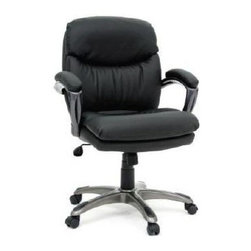 Sauder - Gruga Duraplush Manager's Chair in Black - Padded armrests. Assembly required. 26 in. W x 30 in. D x 43 in. H