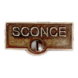 "Renovators Supply - Switch Plate Tags Antique Brass SCONCESwitch Plate Tag 1 11/16"" W - Forget which switch is for what? Try our ID switchplate tags and identify your switches. Our switchplate ID tags are made from SOLID CAST BRASS and come with a TARNISH-RESISTANT ANTIQUE BRASS finish. EASY installation and fits standard switchplates. Coordinating screw included. Measures 13/16 in. H x 1 11/16 in. W."