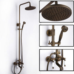 Two Porcelain Handles Antique Brass Mixer Shower Valve Set FG-98 - Specification: