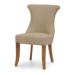 Palecek - Naples Side Chair, Grey - Plantation hardwood frame and legs with sand grey tone finish. Nickel nail heads. Nickel tone metal handle. Linen blend fabric.