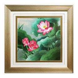 China Furniture and Arts - Lotus Flower Silk Embroidery Frame, A - Silk embroidery is a Chinese art form with origins dating back thousands of years. With each piece containing thousands of tiny threads, a composition requires an extremely high level of skill to create. The lotus flowers featured on this embroidery symbolize honesty and purity in Chinese culture. The reflective nature of the silk thread allows the vibrant pink and green tones to stand out beautifully in light. Museum quality hardwood framing makes this piece ready to hang and make a statement on any wall it is placed.