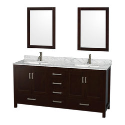 "Wyndham Collection - Sheffield 72"" Espresso Double Vanity, Carrera Marble Top, Undermount Square Sink - Distinctive styling and elegant lines come together to form a complete range of modern classics in the Sheffield Bathroom Vanity collection. Inspired by well established American standards and crafted without compromise, these vanities are designed to complement any decor, from traditional to minimalist modern. Available in multiple sizes and finishes."