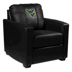 Dreamseat Inc. - West Virginia University NCAA Xcalibur Leather Arm Chair - Check out this incredible Arm Chair. It's the ultimate in modern styled home leather furniture, and it's one of the coolest things we've ever seen. This is unbelievably comfortable - once you're in it, you won't want to get up. Features a zip-in-zip-out logo panel embroidered with 70,000 stitches. Converts from a solid color to custom-logo furniture in seconds - perfect for a shared or multi-purpose room. Root for several teams? Simply swap the panels out when the seasons change. This is a true statement piece that is perfect for your Man Cave, Game Room, basement or garage.