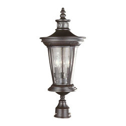 World Imports - North Hampton 3-Light Outdoor Post Lantern, Chrome - Steel construction is great for outdoor use