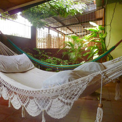 Beige Single Hammock, Natural, Cotton Fringe by HamaNica - This glamorous hammock is perfect for afternoon naps.