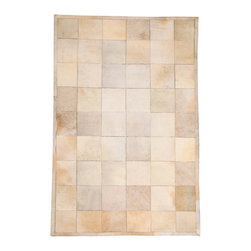 "Natural Area Rugs - NaturalAreaRugs Alberta Cowhide Patchwork Rug, Hand-stitched, 5 Ft. X  8 Ft. - Free & Same Day Shipping within Continental USA. International Shipping Available (Contact us for a quote). Made from 100% Natural Cowhide. Hand-stitched hairhide by Artisan Rug Maker. Imported. Each cowhide patchwork block is 8"" x 8"". Our unique cowhide rug adds texture to any room. The neutral, natural patchwork pattern complements all types of decorating and color schemes."