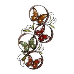 UMA - Butterfly Daze Metal Wall Sculpture - Four sweet Western-inspired butterflies are situated between interlocking loops and twisty, dainty foliage for a fun look that turns heads