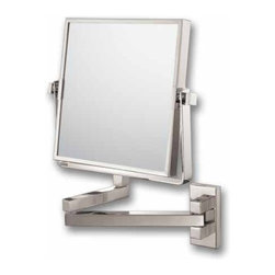 "Lamps Plus - Contemporary Double Arm Brushed Nickel Vanity 7 1/2"" High Wall Mirror - Swivel and tilt this vanity cosmetic mirror into the perfect viewing angle for grooming and other tasks. Ideal for bathroom or dressing areas the design features a brushed nickel finish and a 3x magnification mirror on one surface. Flip the mirror over for a non-magnified surface. Double arm design. Design by Aptations. Mirror is 7 1/2"" high and wide. Extends a maximum of 11 1/2"" from the wall.  Brushed nickel finish.  3x magnification mirror side.  Vanity cosmetic mirror.  Double arm design.   Mirror is 7 1/2"" high and wide.   Extends a maximum of 11 1/2"" from the wall."