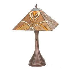 Meyda Tiffany - Meyda Tiffany 99033 Tiffany Single Light Up Lighting Table Lamp Glasgow - *Single light up lighting table lamp featuring a tiffany glass shade