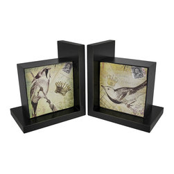 Pair of Decorative Beautiful Wooden Bird Bookends - Each of these fascinating bookends features a unique collage print. The collages, featuring birds, postage, regal crowns, and floral water stamps, are truly captivating. The bookends each measure 6 1/2 inches tall, 6 inches long, and 4 inches wide. These would make great gifts for bird lovers!