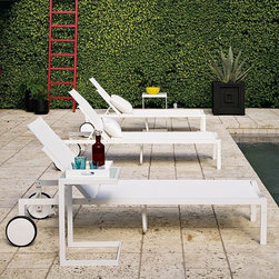 Barrow Lounger - Clean and crisp as a well-chilled cocktail at sunset. Inspired by the poolside parties of Miami and Palm Springs, this modern-minimalist lounger is designed to withstand sun and water with ease, making it perfect for living, relaxing and entertaining alfresco. The adjustable back ensures comfort, while the two wheels make it highly mobile.