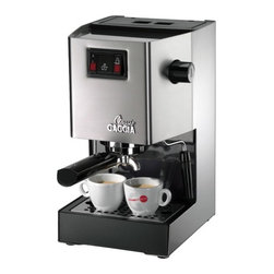 Gaggia - Classic Semi-Automatic Espresso Machine - This best selling model, standing as a timeless piece of kitchen equipment, is applauded by coffee aficionados worldwide. With its commercial style portafilter, brew group, and three-way solenoid valve, the Gaggia Classic provides a combination of convenience and maximum productivity! A dry puck that is easy to knock out of the portafilter makes clean up simple and mess-free. Heat stability and retention are also unmatched with the Gaggia Classic, thanks to the full 1 pound of chrome-plated marine brass that makes up its commercial style portafilter. Easy-to-use brewing and steaming controls make this machine a great addition to any kitchen! Features: -Accolades: The Gaggia Classic Semi-Automatic Espresso Machine was recently ranked as one of Money Magazine's espresso machine ''top picks'' based on its ease of use, ease of cleaning, and taster's choice..-Gaggia's Turbo Frothing: Gaggia's Turbo Frothing Wand allows you to steam and froth milk for cappuccinos and lattes with the greatest of ease. Extremely user-friendly and precise, you'll have great foam with no hassle!.-Water reservoir: The large 72-ounce water reservoir is removable for easy filling or cleaning..-Cup warmer: Five demitasse cups sit in the passively heated cup warmer to ensure you and your guests always have that perfect cup!.-Commercial brew group.-Turbo Frother attachment mounted on a ball joint.-3.5 oz boiler with two external heating elements.-Three-way solenoid valve.-Rocker-switches control power, steaming and brewing.-Made in Italy.-Along with your new semi-automatic machine, you'll receive a coffee tamper, 7-gram scoop, stainless steel filter baskets, and an instructional CD..-Accessories Included: Single pod and double shot stainless steel filter baskets, coffee tamper, 7-gram scoop, and Instructional CD.-In addition to the machine's versatile functionality, it features a stylish design and durable construction. The stainless-steel housing 