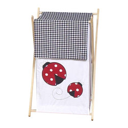 """Sweet Jojo Designs - Little Ladybug Hamper - The Little Ladybug Hamper by Sweet Jojo Designs will add a designers touch to any childs room. This childrens laundry clothes hamper has a wooden frame, mesh liner, and a fabric cover.The removable hamper body is secured to the wooden frame with corner loops and Velcro. The wooden stand folds flat for space-saving storage and the removable mesh liner is great for toting laundry.Dimensions: 15.5"""" Length x 16"""" Width x 26.5"""" Height.If you like the Little Ladybug Hamper Hamper, dont forget to check out the other items in the collection."""