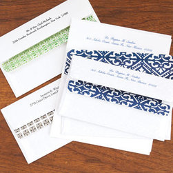 "Horchow - 50 Printed Sheets/50 Pers. Self-Seal Envelopes - These check-size (6.5"" x 3.625""), self-sealing envelopes are lined in your choice of Green Medallion, Blue Crown, or Cobblestone patterns and printed in your choice of typestyle (envelopes with Blue Crown lining are printed in navy ink; envelopes with G..."