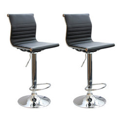 New Buffalo Corp. - Amerihome 2-Piece Padded Bar Stool Set - The Amerihome 2-Piece Adjustable height Contemporary Bar Stool Set brings a touch of the casual contemporary to complete any room. The padded vinyl seat and back is ideal for kitchen spaces as well as bars, game rooms, and basements. The sleek polished chrome base with built-in foot rest is unobtrusive and allows for comfortable leg room. The padded seat is designed for comfort with a 15 inch wide by 15.5 inch deep seat that swivels 360 degrees and has an Adjustable height of 24 to 32 inches. All these features create a great bar stool for all ages.