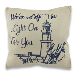 Zeckos - Tan / Blue Lighthouse Theme Accent Pillow 16 In. - Add a seside feel to your inland home decor with this decorative throw pillow. It features a navy blue print of a lighthouse overlooking the sea, with 'We've Left The Light On For You'in script . The pillow measures 16 inches tall, 16 inches wide, has a polyester cover and polyfill padding inside. This pillow looks great on beds, chairs, and couches anywhere in your home.