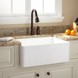 """26"""" Baldwin Fireclay Farmhouse Sink - Smooth Apron - The 26"""" Baldwin Fireclay Farmhouse Sink features a classic, polished look with a smooth front."""