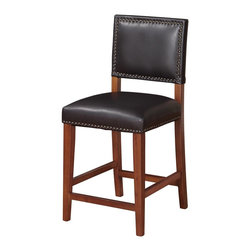 "Linon Home Decor - Linon Home Decor Brook Counter Stool Black X-U10KLB2320 - Create a contemporary look in your kitchen, dining or home pub area with the sleek shape and style of this Sapele finished 24"" Brook Counter Stool.  Solid legs give this courtly stool additional strength ensuring years of everyday use.  The padded cushion will provide optimum comfort for you and your guests and is topped with durable black vinyl that is stain resistant, fade resistant and features tightly woven threads that won't break, mat or peel.  Accented with antique bronze nail head trim. 275 pound weight limit."