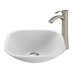 Vigo - White Phoenix Stone Glass Vessel Sink with Faucet - The VIGO Square Shaped White Phoenix Stone Glass Vessel Sink with Brushed Nickel Faucet brings a contemporary look to your home