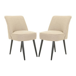 Safavieh - Safavieh Retro Nail head Beige Side Chairs (Set of 2) - Add a retro flair to your decor with these beige side chairs. Inspired by the 60s era, these chairs have a wood base for durability, velvet-blended upholstery that gives them a soft look and feel, and a padded seat and back that ensure their comfort.