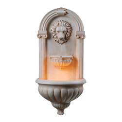 None - San Marco Lion-head Wall Fountain - This Lilia wall fountain showcases a majestic lion head spitting water into a two-tier bowl below. Stunning detail and ambient lighting create a regal setting for the king of the jungle to thrive.