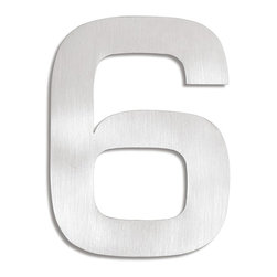 Blomus - Signo Stainless Steel House Number - 6 - Let everyone know where your house is with these stainless steel address markers. Easy to mount with simple instructions included. Brushed matte finish.