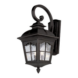 Trans Globe Lighting - Chesapeake 25 Inch Outdoor Three-Light Wall Light Fixture -Black - - Glass Type: Clear water glass  - Exterior use  - Material: Cast Aluminum  - Bulb not included  - Arched window panes  - Tall rectangle wall plate  - Colonial outdoor light fixture  - Matching outdoor collection  - Glass Description: Clear water glass in a four window frame  - 1 Year limited  - From the New American outdoor collection in antique rust. A Colonial favorite with scalloped window frames and watered glass. Matching styles.  - Backplate dimensions 6-1/4 x 14.38 Trans Globe Lighting - 5420BK