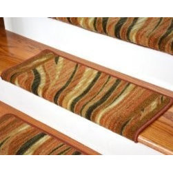 "Dean Flooring Company - Dean Modern DIY Bullnose Carpet Stair Treads - Jazzy Terra Cotta - Set of 13 - Dean Modern DIY Bullnose Carpet Stair Treads - Jazzy Terra Cotta - Set of 13 : Jazzy Terra Cotta Bullnose Stair Treads!  By Dean Flooring Company  Protect stairs and steps in style and comfort with good looking, long wearing stair treads. Rectangular shaped, finished edge style in durable long-lasting nylon quality construction. Perfect for heavily trafficked areas. Helps prevent slips for you and your pets on your hardwood stairs.   Non-skid foam rubber back. Cuts down on track-in dirt. Extends the life of your hardwood stairs. Easy to keep clean-spot clean and vacuum. Edges are finished with color matching yarn. Easy do-it-yourself installation with included advanced adhesive roll. Each tread is approximately 25"" x 12"" (Covers  10"").  Set includes 13 stair treads. Add a touch of warmth and style to your home today with stair treads from Dean Flooring Company!"