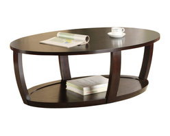 Homelegance - Homelegance Patterson Cocktail Table in Espresso - Homelegance - Coffee Tables - 329630 - Convex framing supports the modern look of the Patterson Collection. Featured in a warm espresso finish the occasional collection's rounded features are further complimented with display shelving.