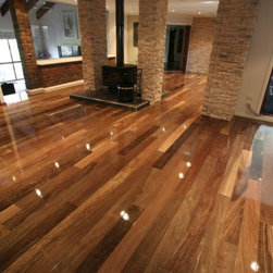 Spotted gum floors - Spotted Gum (Corymbia maculata) is an Australian eucalyptus that's used as flooring all over Austalasia. It shows up from time to time elsewhere in the world and it's absolutely stunning. It's very hard, very durable and easy to work with.