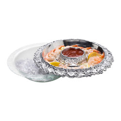 Arthur Court - Grape Appetizer Tray w/Glass Bowl - Cold as ice. This cleverly constructed tray sits atop a bowl that can be filled with ice to keep your appetizers chilled to perfection. Made of substantial aluminum with a detailed grape motif, it's a real crowd-pleaser.