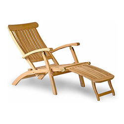 Thos. Baker - Teak Stteamer chair | Classic Teak Deck Chair - The  classic steamer chair   is a grander take on a  traditional deck chair with detailing like the wider slatwork and broad headboard. Back adjusts to five positions and the leg to two. The hardware is marine grade stainless steel.Signature or premium cushion sales are final and ship in 2-3 weeks.