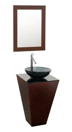 Wyndham Collection - Esprit Bathroom Vanity in Espresso,Smoke Glass Top,Smoke Glass Sink - Architectural and dramatic, this original Wyndham Collection makes a beautiful powder room centerpiece. Several counter and sink options allow a range of looks for a better level of personalization.
