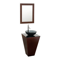 Wyndham Collection - Esprit Vanity in Espresso,Smoke Glass Top,Smoke Glass Sink - Architectural and dramatic, this original Wyndham Collection makes a beautiful powder room centerpiece. Several counter and sink options allow a range of looks for a better level of personalization.