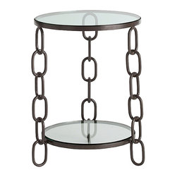Kathy Kuo Home - Paxton Modern Industrial Chain Link Iron Side Table - Oh, these chains of love!  Serious industrial chops are instantly evoked with this circular iron table with oversized links for legs.