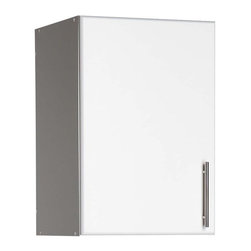 Prepac - Elite 16 in. Stackable Wall Cabinet in White - Why take up valuable floor space when you can store items in this wall mountable cabinet? Has one adjustable shelf and a contemporary handle. Can be mounted on top of other Elite cabinets or directly to the wall. Single storage cabinet mounts to the wall or on top of one of our taller cabinets. There's an adjustable shelf that allows you to configure the space just the way you like it! * Includes an instruction booklet. One adjustable shelf. Stylish brushed metal handles. Doors with high quality European style 6-way adjustable hinges. MDF doors with profiled rounded edges. Durable laminate finish. CARB-compliant. Warranty: Five years limited. Made from laminated composite woods with a sturdy MDF backer. Made in North America. Assembly required. 16 in. W x 16 in. D x 24 in. HThe Elite 16 in. Stackable Wall Cabinet gives you storage that�۪s as practical as it is versatile. This stackable wall cabinet can adapt to anything you need to store in your workshop, laundry room or garage. Save floor space by mounting it directly to your wall or on top.