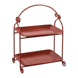 "Traders and Company - Faux Distressed Metal Red 2-Tier Canape Server/Tray, 15""Lx10.5""Wx21""H - Brightly colored & whimsically faux distressed metalware inspired by 1950's designs. Hand-applied finish with an antiqued retro look. Alternate shapes & styles sold separately. Dimensions : 15""Lx10.5""Wx21""H"