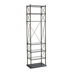 Kathy Kuo Home - Everton Oiled Rubbed Bronze Contemporary Etagere Display Stands - This is one tall, sleek and handsome set of shelves just made for a starring role in any contemporary space.  Don't let the spare lines and elegant proportions fool you, this leading man can take on heavy lifting too!