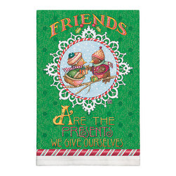 379-Christmas Birds Dish Towel - Brighten up any kitchen with Mary Engelbreit's Collection.  Silkscreened on 100% cotton, lint free and wate absorbent.