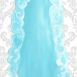 "Doodlefish - Aquamarine Dress Stretched Canvas - Our beautiful Aquamarine Dress artwork is a mounted piece of artwork in a choice of frame colors.  The beautiful blue ruffled gown is also available as a stretched canvas that features a modern pink striped background.    The artwork is 12"" x 36 as a stretched canvas.  With the frame, the finished size is approximately 14"" x 40""."