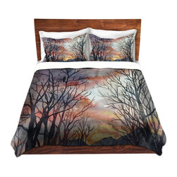 DiaNoche Designs - Duvet Cover Microfiber by Anne Gifford - Winter Watch - Super lightweight and extremely soft Premium Microfiber Duvet Cover in sizes Twin, Queen, King.  This duvet is designed to wash upon arrival for maximum softness.   Each duvet starts by looming the fabric and cutting to the size ordered.  The Image is printed and your Duvet Cover is meticulously sewn together with ties in each corner and a hidden zip closure.  All in the USA!!  Poly top with a Cotton Poly underside.  Dye Sublimation printing permanently adheres the ink to the material for long life and durability. Printed top, cream colored bottom, Machine Washable, Product may vary slightly from image.