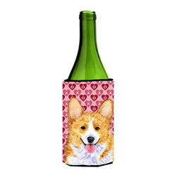 Caroline's Treasures - Corgi Hearts Love and Valentine's Day Portrait Wine Bottle Koozie Hugger - Corgi Hearts Love and Valentine's Day Portrait Wine Bottle Koozie Hugger SS4486LITERK Fits 750 ml. wine or other beverage bottles. Fits 24 oz. cans or pint bottles. Great collapsible koozie for large cans of beer, Energy Drinks or large Iced Tea beverages. Great to keep track of your beverage and add a bit of flair to a gathering. Wash the hugger in your washing machine. Design will not come off.