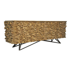 Kathy Kuo Home - Mersin Modern Rustic Reclaimed Chunky Wood Metal Sideboard Buffet - A dazzling display of form and function, this is one reclaimed fir wood sideboard that gets more than just passing glances. A wild mix of wedge-shaped wood cuttings adds dimension to the exterior while the interior has two large cabinet spaces with a removable shelf for your glassware, china and linen. This one-of-a-kind buffet sits on an angular metal base - a great finish to this Global Bazaar virtuoso.